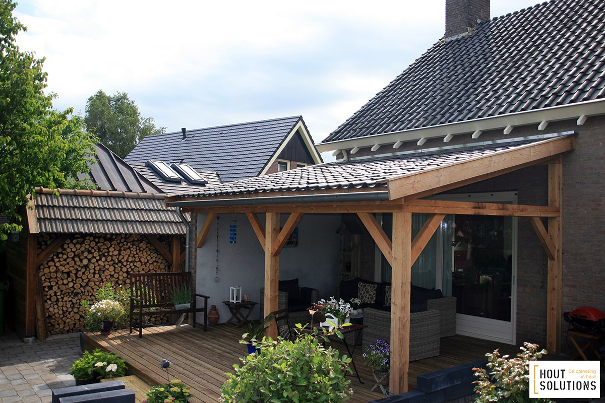 Houten veranda aanbouw 600 x 350 cm for Houten veranda