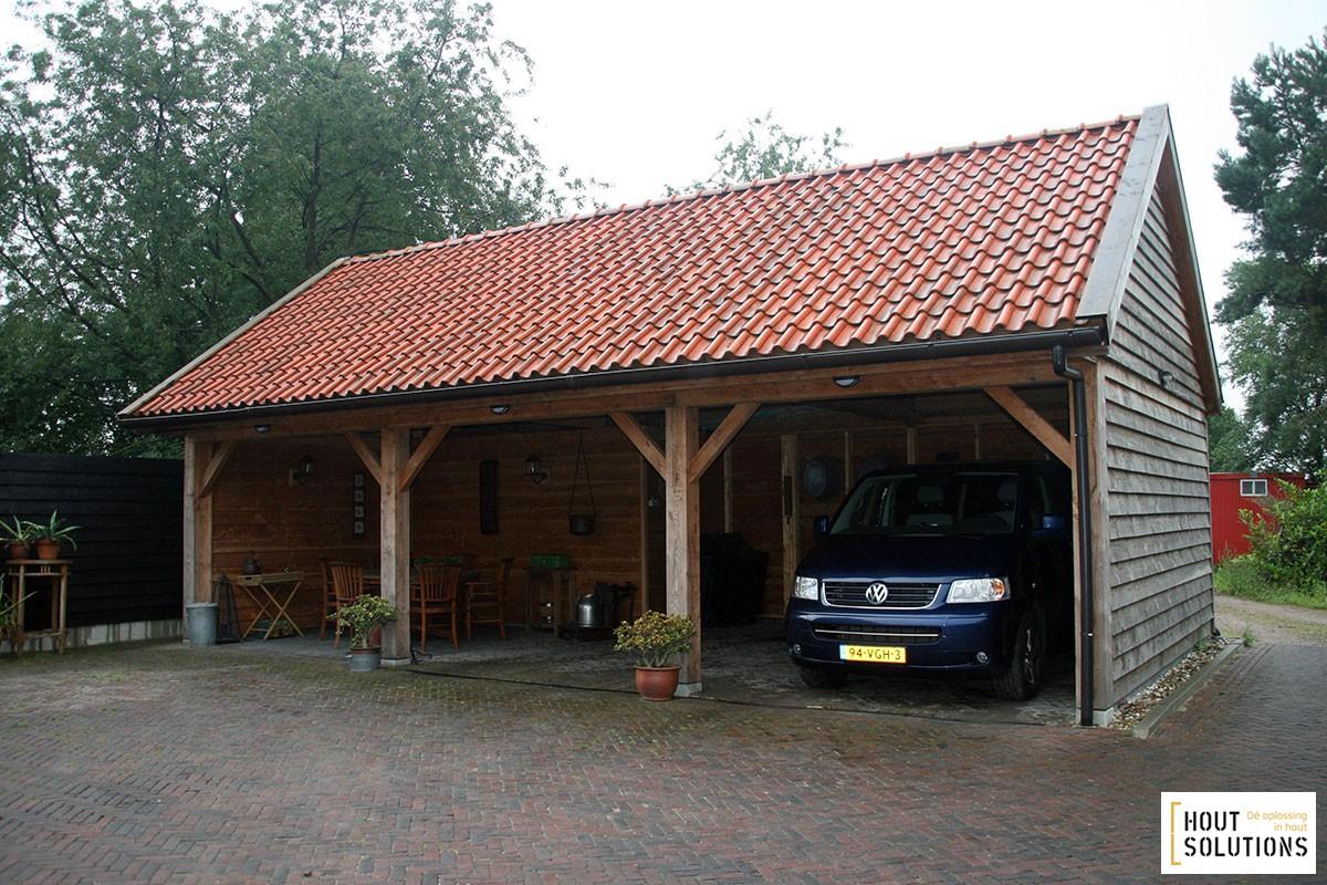 Houten Carport Met 3 Open Vakken Houtsolutions