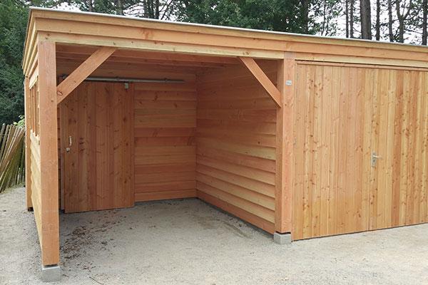 garage hout met platdak